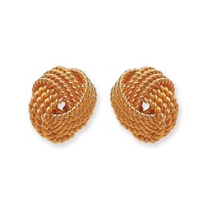 Gold Plated Silver Earrings F.F. Knot Studs