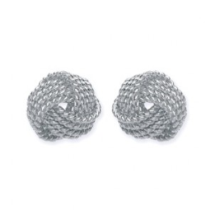 Rhodium Plated Silver F.F. Knot Studs