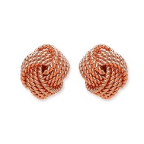 Rose Gold Plated Silver Earrings F.F. Knot Studs
