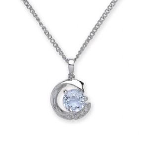 Rhodium Plated Silver Pendant Sky Blue Topaz/C.Z.