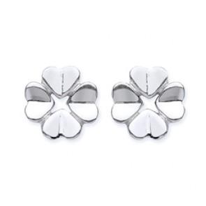 Rhodium Plated Silver Earrings F.F. Flower Studs