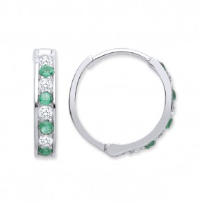 RP Silver Earrings Green CZ/CZ Hinged