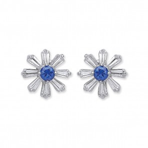 RP Silver Earrings FF Blue CZ/CZ Studs