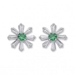 RP Silver Earrings FF Green CZ/CZ Studs
