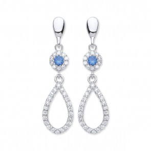 RP Silver Earrings FF Blue CZ/CZ Open Drops