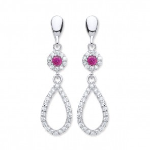 RP Silver Earrings FF Red CZ/CZ Open Drops