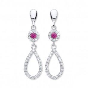 RP Silver Earrings FF Red CZ/CZ Open Drops