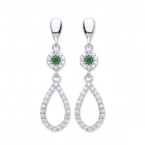 RP Silver Earrings FF Green CZ/CZ Open Drops