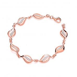 RP/RGP Silver Bracelet CZ Fancy Link