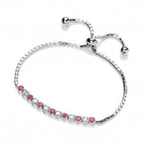 RP Silver Bracelet Red/White CZ