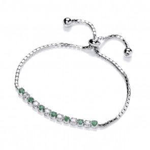 RP Silver Bracelet Green/White CZ
