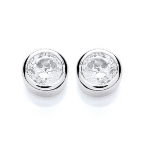RP Silver Earrings FF CZ Round Rubover Studs