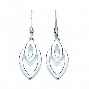 RP Silver Earrings HW Open Double Ellipse Drops
