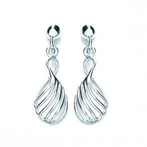 RP Silver Earrings FF Open Rib Drops