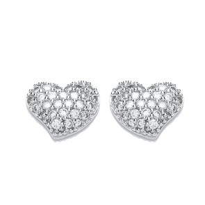 RP Silver Earrings FF CZ Set Heart Studs