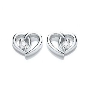 RP Silver Earrings FF CZ Open Heart Studs
