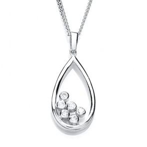 RP Silver Pendant CZ Open Pear