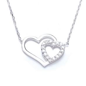 RP Silver Necklet CZ/Plain Hearts