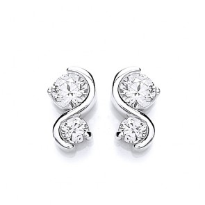 RP Silver Earrings FF CZ Fancy Studs