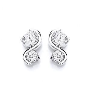 RP Silver Earrings FF CZ Fancy Studs