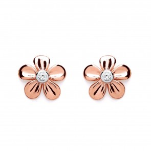 RP/RGP Silver Earrings FF CZ Flower Studs