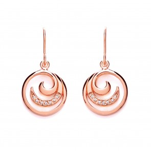 RGP Silver Earrings HW CZ Swirl Drops