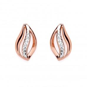 RGP Silver Earrings FF CZ Leaf Studs