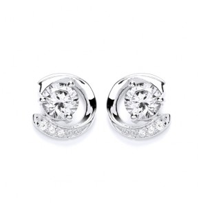 RP Silver Earrings FF CZ Fancy Round Studs