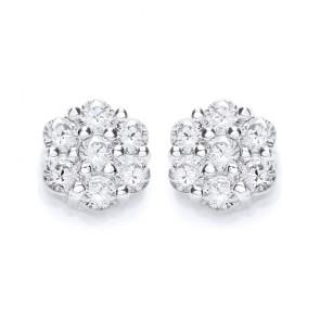 RP Silver Earrings FF CZ Cluster Studs