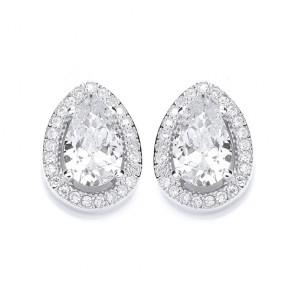 RP Silver Earrings FF CZ Pear Studs