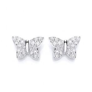 RP Silver Earrings FF CZ Butterfly Studs