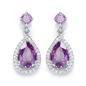 RP Silver Earrings FF Amethyst CZ Pear Drops