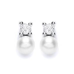 RP Silver Earrings FF CZ/Imitation Pearl Studs