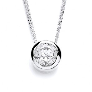 RP Silver Pendant CZ Solitaire Rubover