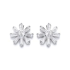 RP Silver Earrings FF CZ Star Studs