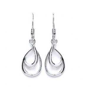 RP Silver Earrings HW Open Pear Drops