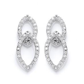 RP Silver Earrings CZ Open Studs