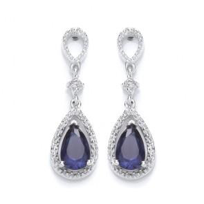 RP Silver Earrings FF Blue Crystal Pear Drops