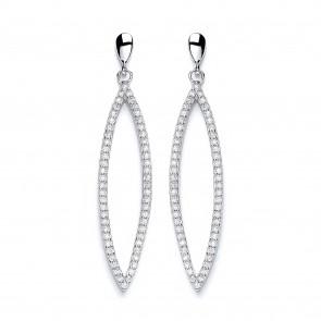 RP Silver Earrings FF CZ Open Ellipse Drops
