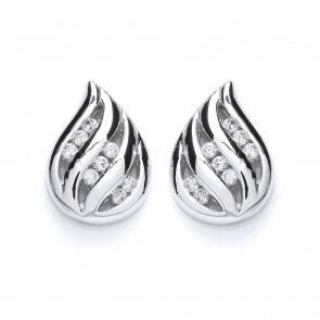 RP Silver Earrings FF CZ Teardrop Studs