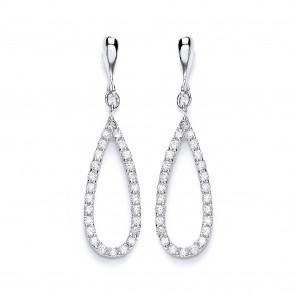 RP Silver Earrings FF CZ Open Pear Drops