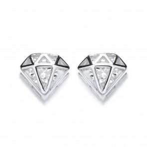 RP Silver Earrings FF CZ Cage Studs