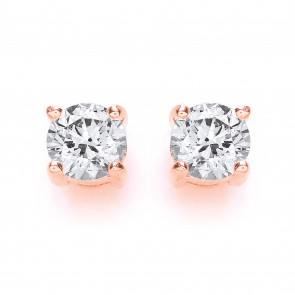 RGP Silver Earrings FF Swarovski CZ Round Studs