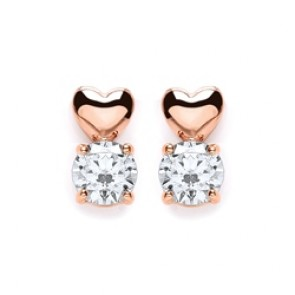 RGP Silver Earrings FF CZ Heart Studs