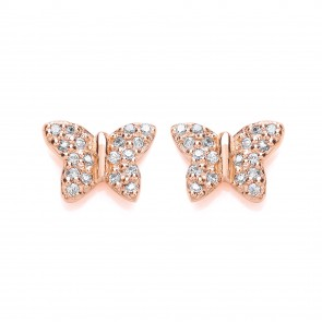 RGP Silver Earrings FF CZ Butterfly Studs
