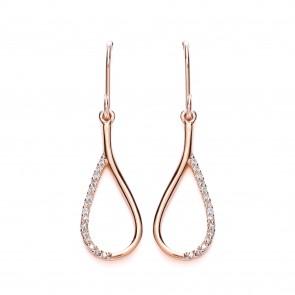 RGP Silver Earrings HW CZ Open Pear Drops