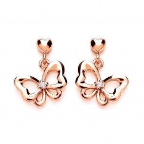 RGP Silver Earrings FF CZ Bow Drops