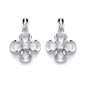 RP Silver Earrings FF CZ Flower Drops