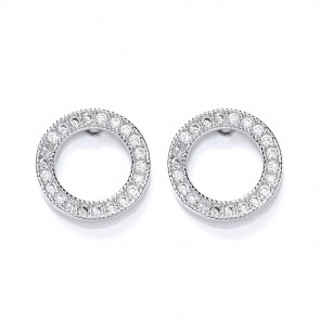 RP Silver Earrings FF CZ Open Round Studs