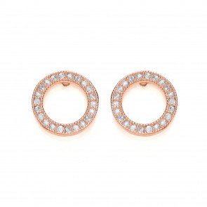 RGP Silver Earrings FF CZ Open Round Studs